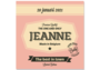 Geboortekaartje Jeanne